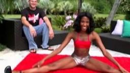 Stunning ebony stretching her sexy long legs