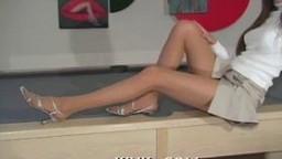 Caramel chick in pantyhose