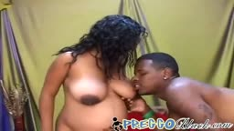 Pregnant Ebony slut lets a big black dick fuck her