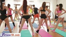 WOW! Stunning Fitness Babes get Horny in Class with instructor. Threesome with Angels must be Heaven