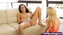 Talented babes Skylar and Sabrina tease hard cock during casting