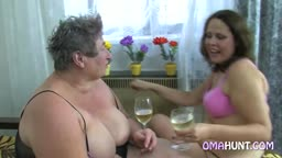 Granny Gets Cozy With A Fat Brunette