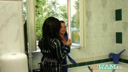 Russian girls playing in bathtub