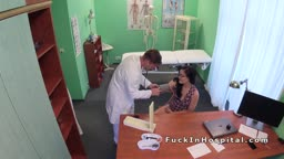 Busty patient with eyeglasses bangs doctor
