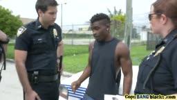 Naughty female police officers prefer huge black rods