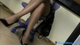 Hot secretary stripteases in workplace