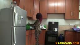 African ebony babe kitchen fucking interracial