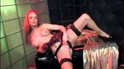 Kinky redhead Audrey dped in stockings and garter