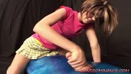 Teen Girl Gives A Handjob Until He Cums