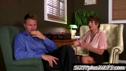 Mrs. Parker seduces sexy man in her home