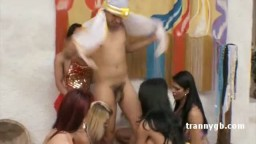 Hot luscious shemale in belly dancing costumer fucked one dick