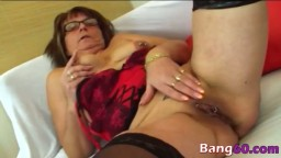 Nerdy and horny old lady takes advantage of a younger man