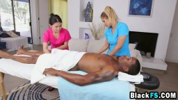 Asian masseuses banged by hot black stud in threeway