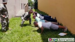 Gay soldiers banging in hot foursome after training