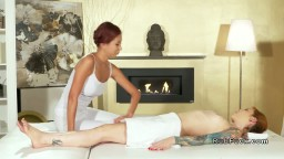 Redhead lesbians licking in massage room