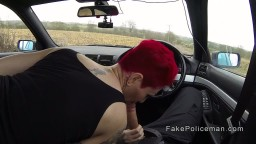 Dirty fake cop bangs redhead busty babe outdoor