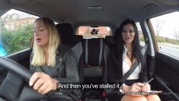 Examiner with huge boobs eats pussy to driver
