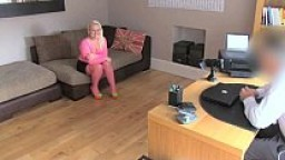 FakeAgentUK Amateur petite blonde girl empties agents balls in fake casting