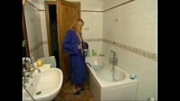 Gorgeous italian blonde mature gets in the bathroom